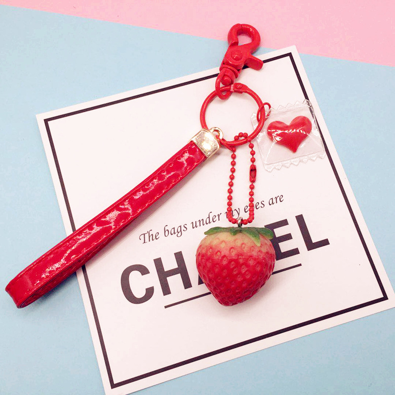 Cute Strawberry Keychain Lovely PU Leather Rope Keyring Car Key Holder For Girl Bag Pendant Accessories