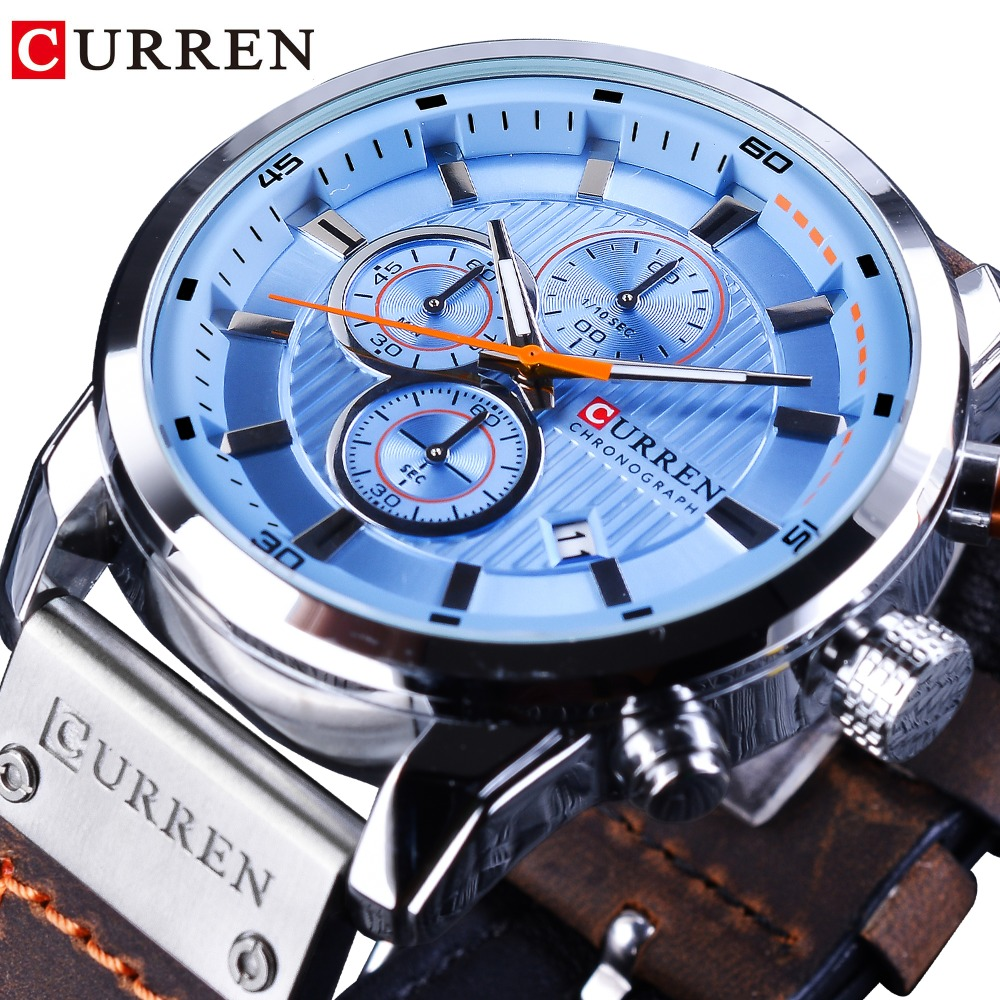 CURREN Blue Ocean Dial Design Brown Military Belt 3 Dial Chronograph Mens Sport Wrist Watches Top Brand Luxury Men Quartz Clock curren 2018 fashion military brown genuine leather belt chronograph calendar display mens quartz sport watches top brand luxury