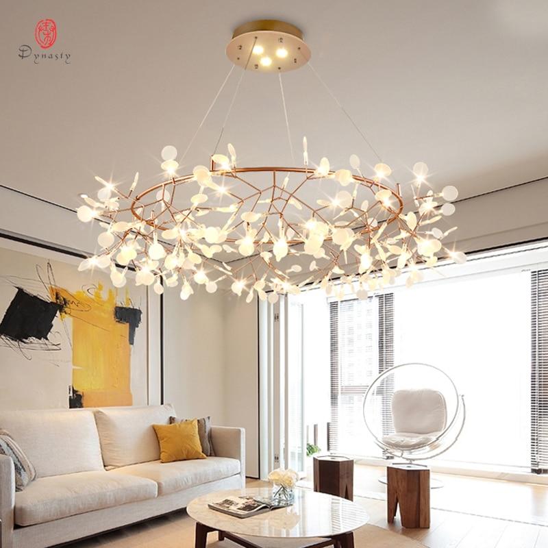 Sztuka dekoracyjna gałązka oliwna wisiorek styl europejski led wiszące lampy pozostawia przedpokój salon Lobby AC110/220 V Cafe Dynasty uwalnia statek