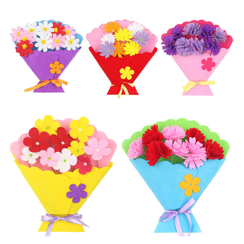 Toy For Children Craft Toy DIY Flower Bundle Non-woven Hand Bouquet Kindergarten Learning Education Toy  Flower Pot Potted Props