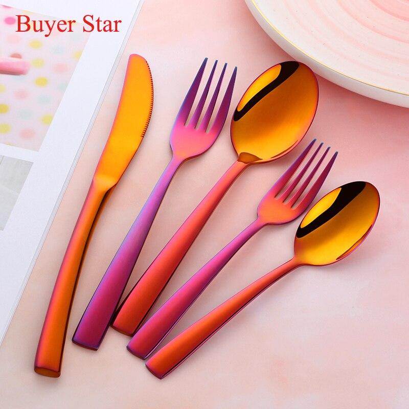 Buyer Star Creative Magic red Western Dinnerware Set Knife Fork Spoon Set Western Luxury Food Set Home Tableware Set