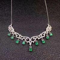 Изумрудное ожерелье Бесплатная доставка натуральной Изумрудный 925 серебро драгоценных камней для мужчин и женщин
