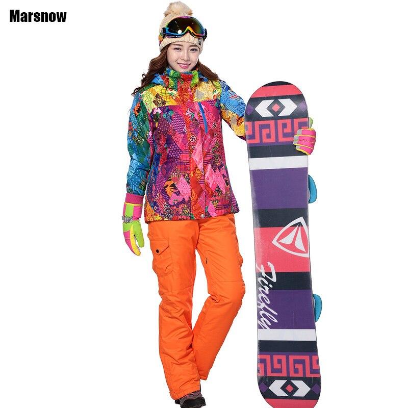 Ski costume pour femmes épaissir imperméable coupe-vent respirant en plein air Montagne Sport salopette d'hiver costume femmes pantalon et veste