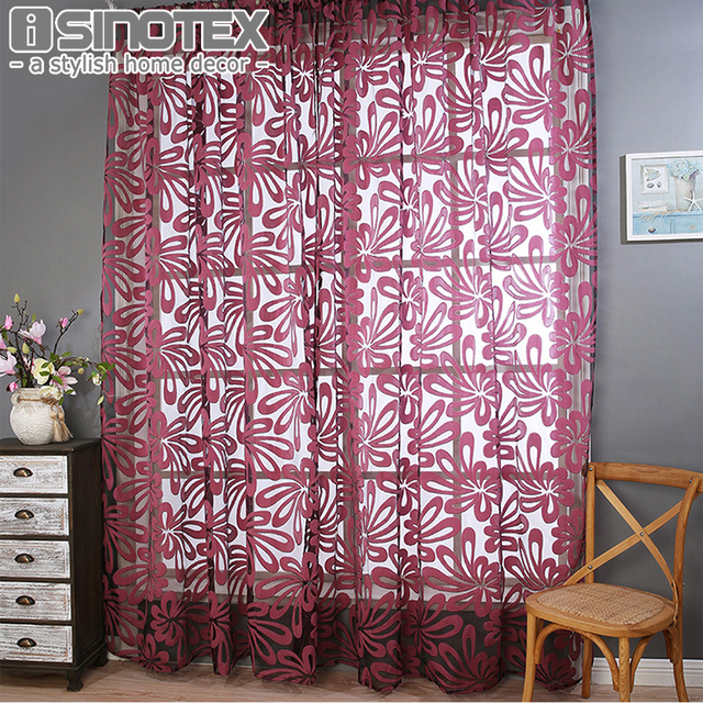 Window Curtain Cut Flowers Polyester Voile Fabric Curtain Pleated ...