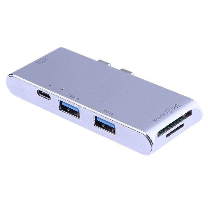 ALLOYSEED Multifuction Carte Lecteur Double Type-C 3.1 à 2 USB 3.0 HUB + 3.0 SD/TF Lecteur de Carte + 4 K HDMI + PD Port pour PC