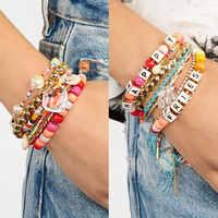 Best lady New Bohemian Letter Beaded Bracelets for Women Heart Pendant Wedding party Charm Bracelets Bangles Multicolored Gifts