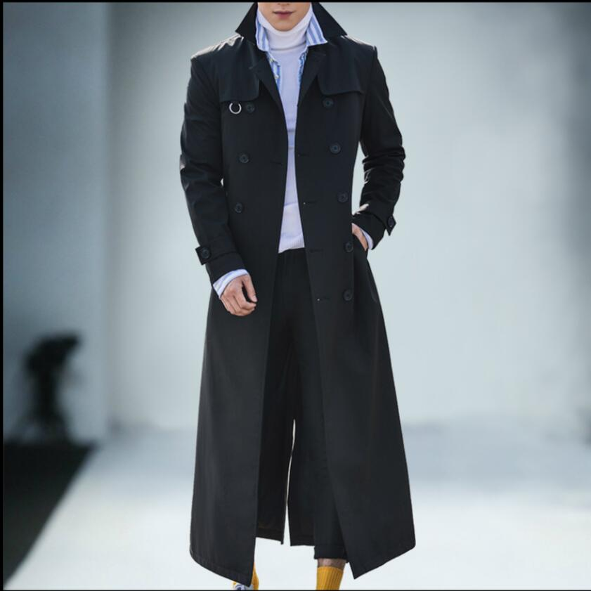M-4XL 2019 new autumn and winter lapel long   trench   coat men's Double-breasted business casual coat fashion handsome Windbreaker
