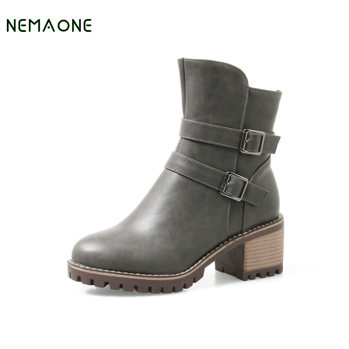 NEMAONE 2017 Women Boots High Heels Square Toe Ankle Boots Ladies Party Western Style Wedding Shoes Woman Winter Botas Mujer женские часы bering ber 10126 402