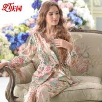 QT Brand Women's Pajamas Spring Summer Long Sleeve Pajama Pants Sets Pure Cotton Floral Pyjama Apricot Lounge Set Female 9643