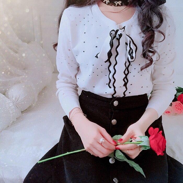 Princess sweet lolita sweater Miss Bobon21 bow tie Talasite hollow little knitted cardigan thin sweet long sleeved sweater T1510 платье sweet miss sweet miss sw014ewausu4