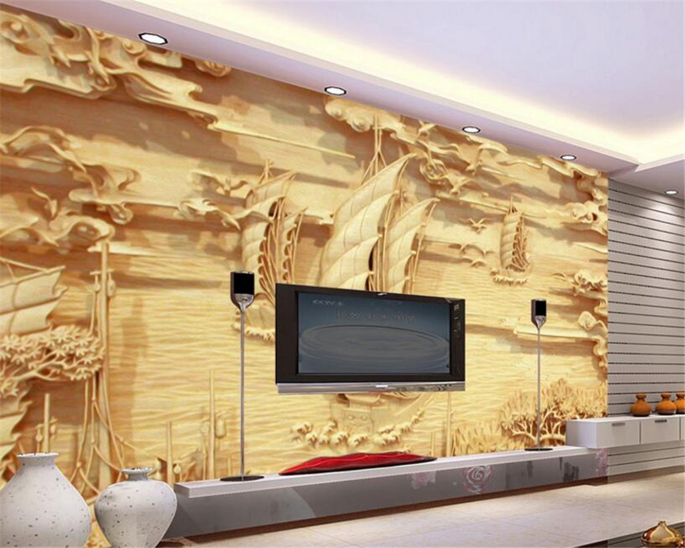 Beibehang 3D Wallpaper Windsurfing Relief Wall Painting Living Room ...