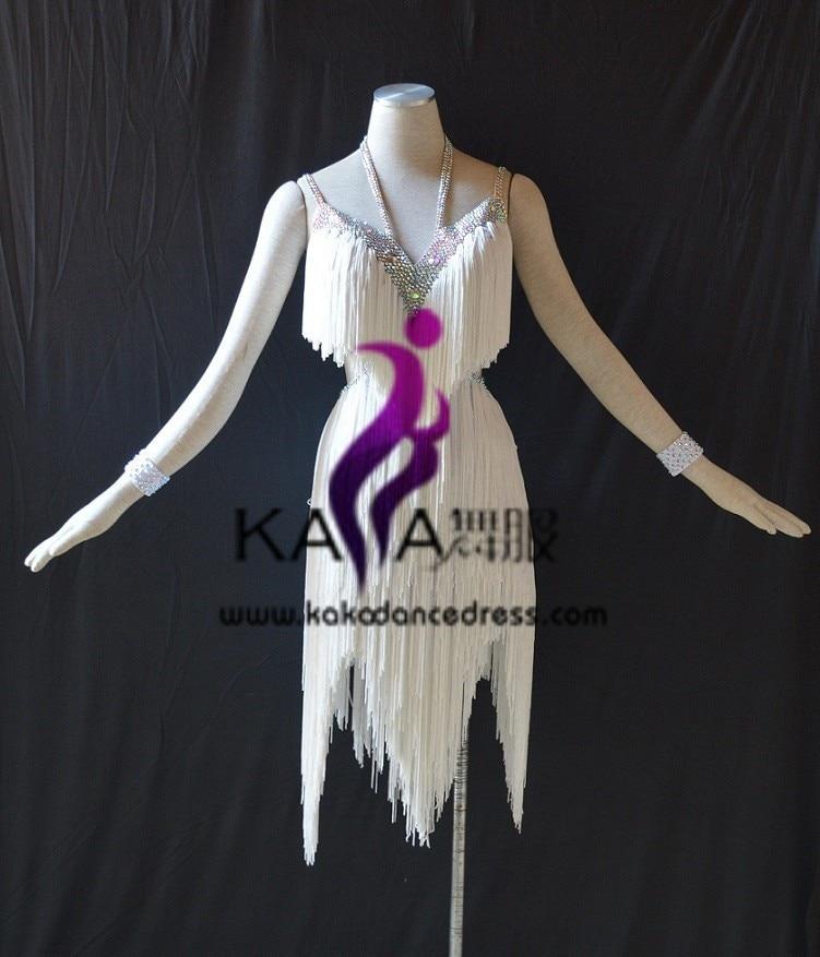 SZ KAKA DANCE DRESS FACTORY Online store 31159 KAKA-L1507,Women Dance Wear,White Fringe Latin Dress,Salsa Dress Tango Samba Rumba Chacha Dress,women dress
