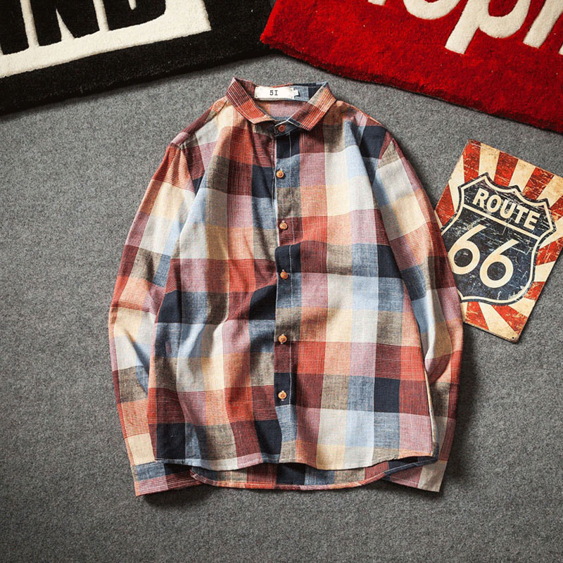 Check Shirts For Men Loose Men Button Up (2)