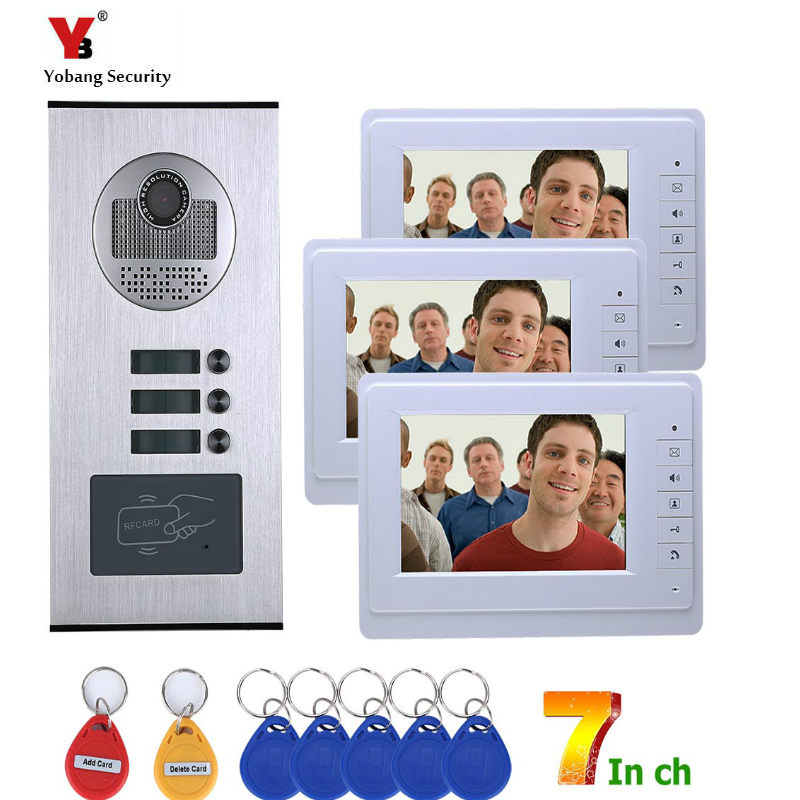 Yobang Security 3 Units Apartment/Flat Rfid Video Intercoms Electronic Doorman With Camera Home Door Phone Doorbell SystemYobang Security 3 Units Apartment/Flat Rfid Video Intercoms Electronic Doorman With Camera Home Door Phone Doorbell System