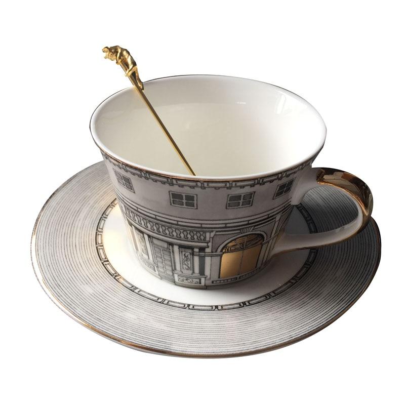 New Nordic Bone Gold Window Retro Swan Castle Classic Wind Coffee Cup Home Decoration Lunch Fornasetti Tea Cup