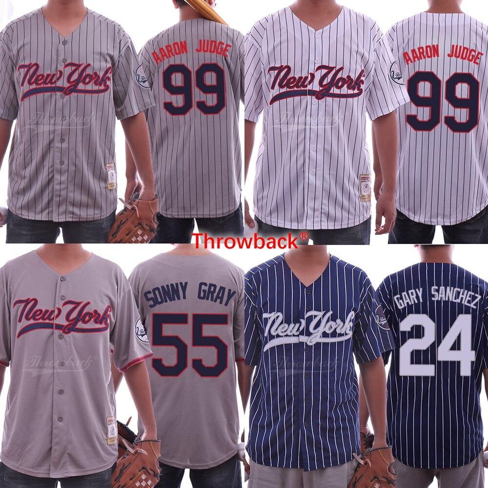 01c2c8e19 Throwback Jersey Men's Baseball Jersey New York Jerseys 99 Aaron Judge  Jersey 24 Gary Sanchez 55 Sonny Gray Shirt Free Shipping