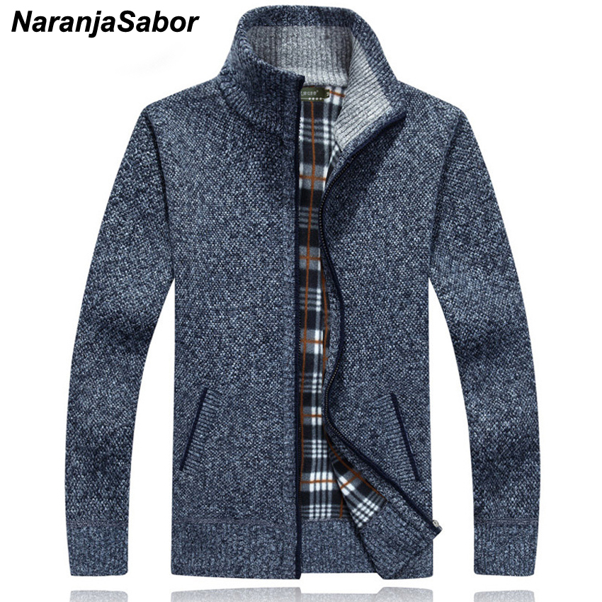 NaranjaSabor Men's Winter Autumn Spring Thick Warm Coat Knitwear Male Fashion Zipper Stand Collar Pullover Cardigan Jackets N470