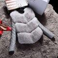 Chaquetas de las mujeres Chaleco de Moda Otoño Abrigo de Invierno Cálido Faux Fox Chaleco de Piel de Alto Grado Femenino Delgado ropa de Abrigo Chaqueta Negro gris