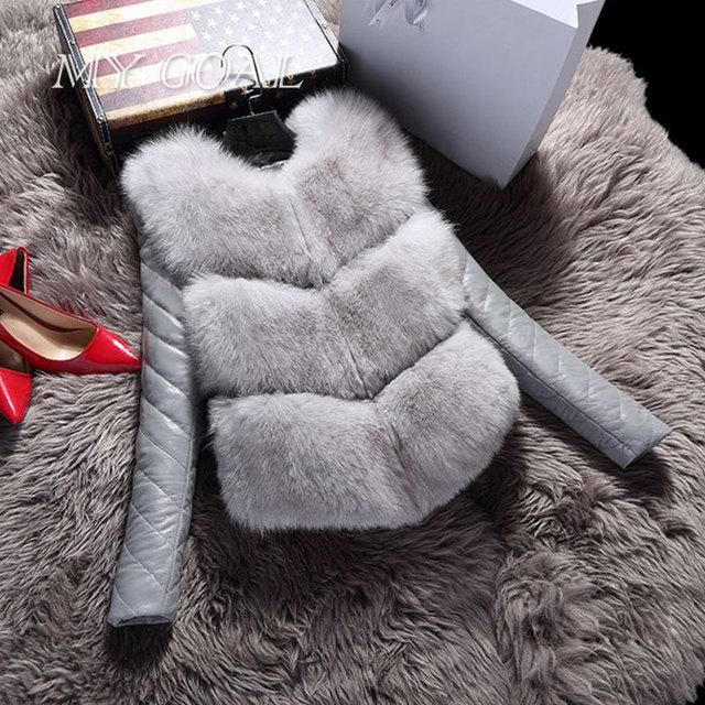 Donne Giacche Gilet Moda Autunno Inverno Caldo Cappotto Femminile Faux Pelliccia di Volpe Gilet di Alta Qualità Sottile Giacca Della Tuta Sportiva Nera grigio