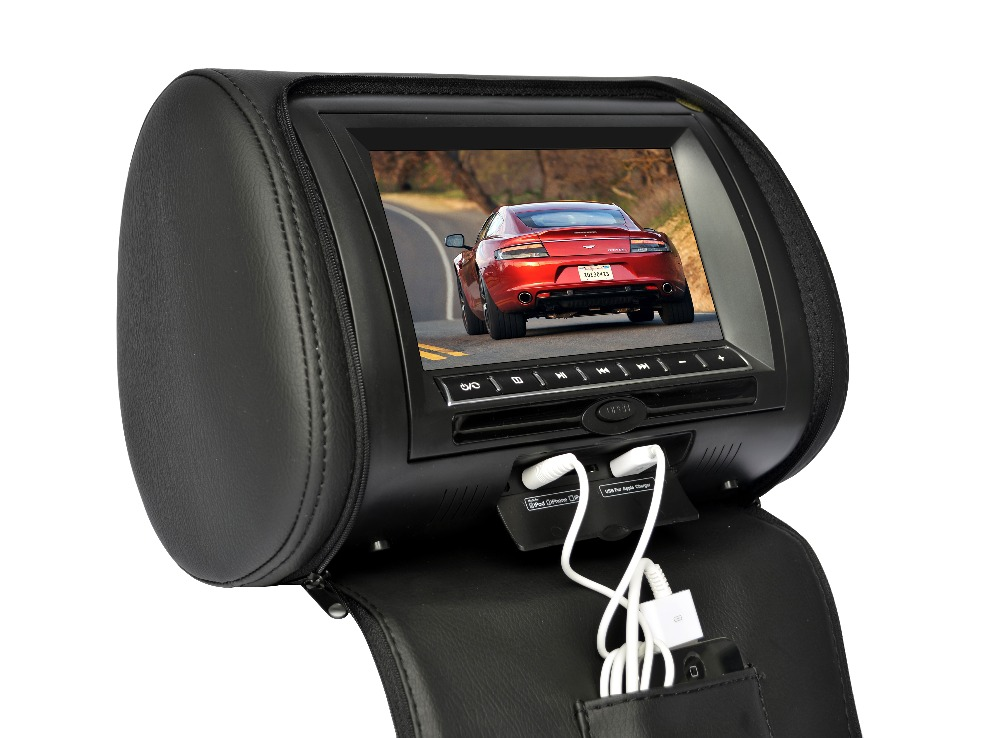 2x 7 inch Leather Cover Car Headrest Monitor DVD Video Player TFT LCD Screen Support USB/SD/FM/Game/Speaker Wireless Headphone 2x 10 1 inch 1024 600 car headrest monitor dvd player usb sd hdmi fm game tft lcd screen touch button support wireless headphone