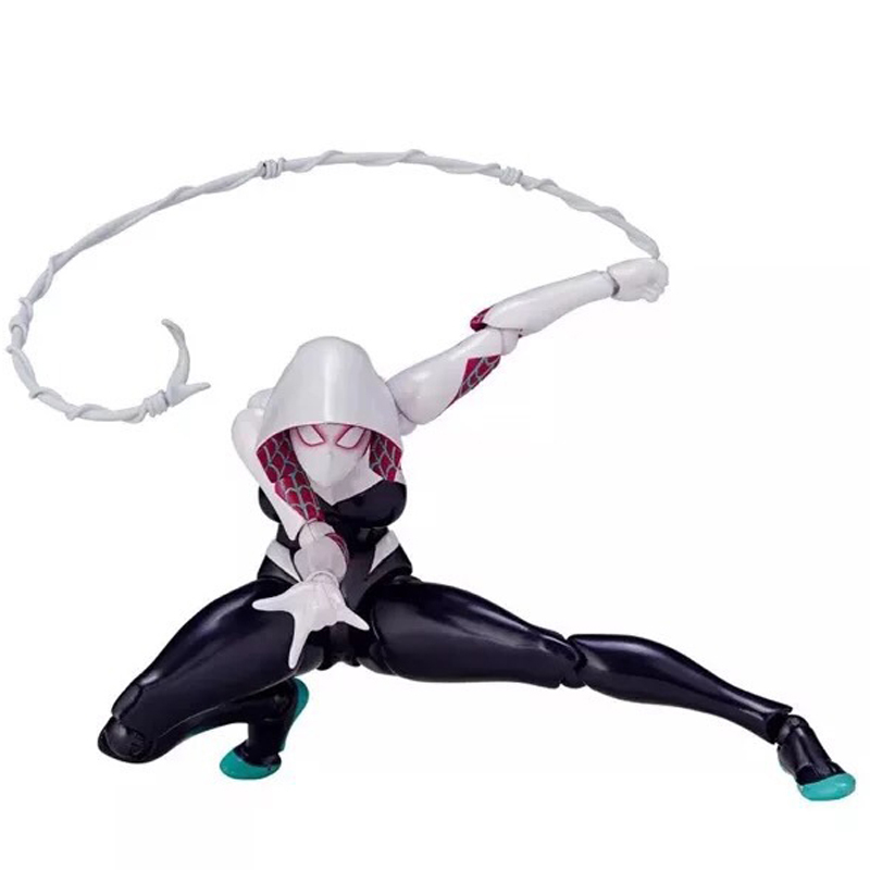 Marvel Super Hero Spiderman Girl Gwen FIGMA Series NO.004 Limited Vision Action Figures Toy Doll 16cm figma x man series spiderman figure no 001 revoltech deadpool with bracket no 002 revoltech spider man action figures