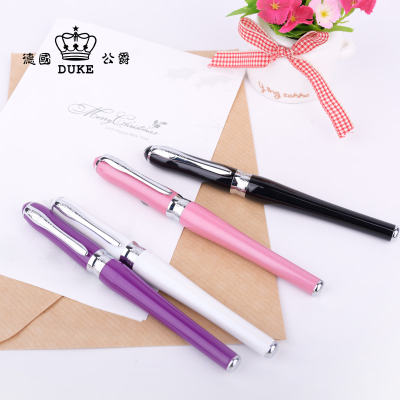 Office Stationery Supplies Duke Fashion Kawaii 0.38mm Extra Fine Nib Fountain Pen with Original Gift Case Luxury Metal Ink Pens duke classic confucius bamboo 1 2mm curved tip iridium nib metal fountain pen with luxury original gift box ink pens for gift
