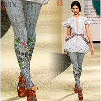 Women S Tights Lolita Skull Flower Printed Pantyhose Female Girl Tights