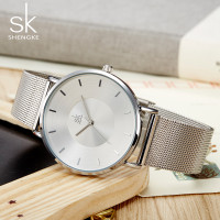 Shengke Simple   Women     Watches   2017 Female Wristwatch Ultra thin Quartz   Watch   Woman Sliver Ladies   Watch   Relogio Feminino SK 2018