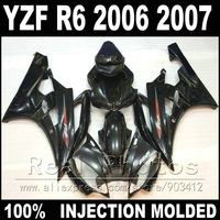 100% Fit for YAMAHA R6 fairing kit 06 07 Injection molding all glossy black 2006 2007 YZF R6 fairings