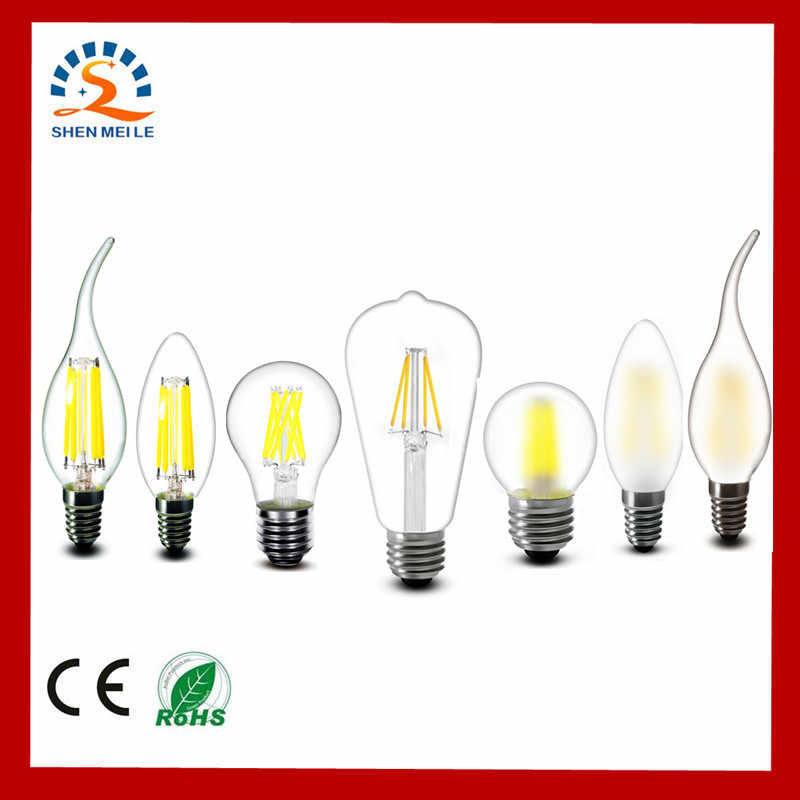 2w 4w 6w 8w A60 ST64 G45 C35 B10 T45 E27 E14 Clear Led Filament Bulb Frosted LED Lamp Lights Warm 220v AC Dimmable Retro light