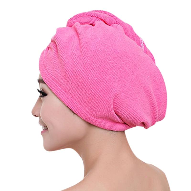Las mujeres de la manera rápidamente se secan el sombrero del pelo de microfibra del color sólido de las señoras de las señoras gorro de ducha fuerte absorben agua toalla de secado YF201