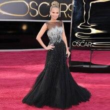 Doragrace Custom Illusion Tulle Black Beaded Evening Dresses Mermaid Celebrity Dresses Evening Gowns Plus Size