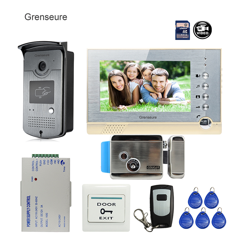 FREE SHIPPING BRAND 7 Home Color Video Door phone Intercom System + recording Monitor + RFID Card Reader Camera + Electric lock free shipping brand new 7 home video intercom door phone system with recording monitor rfid card reader door camera wholesale