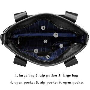 Image 5 - BISON DENIM bolso de mano de cuero genuino bolso de mensajero, de negocios, para hombre iPad vaca bandolera de cuero Crossbody bolsos masculinos N2202