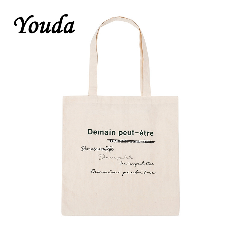 Youda French Fashion Print Female Student Shoulder Bag Eco Shopping Large Capacity Canvas Purse Pouch