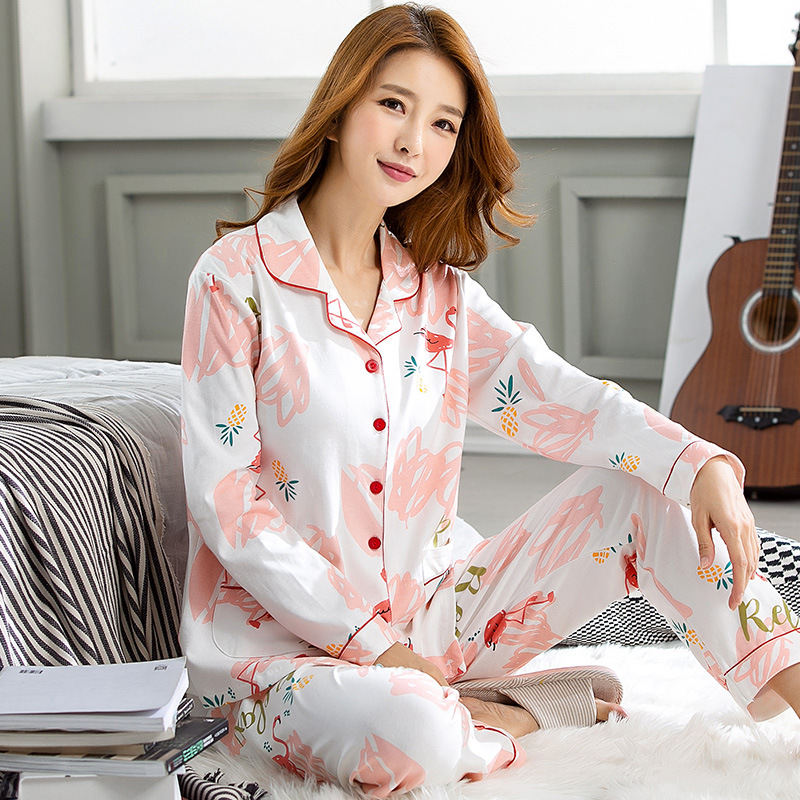 Autumn   Pajama     Sets   Long Sleeve Sleepwear 100%Cotton V-Neck Cute Animal Homewear Female Pijamas Pyjamas Women Pants+Tops