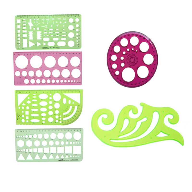 Multi Shaped Plastic Ruler Painting Drawing Template Oval Geometric Template Curve Pattern Ruler Stationery Office Supplies