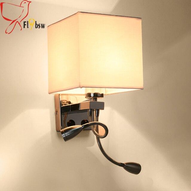 Moderne 1 2 Köpfe LED Wandleuchte, Schwarz/weiß/braun/leinen Balkon