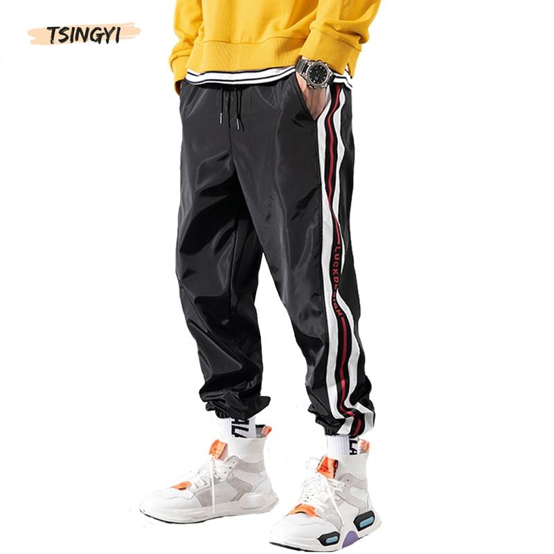 Tsingyi Summer Solid Striped Harem Pants Men Women Ankle-Length Streetwear Hip Hop Joggers Black White Grey Couple Pencil Pants