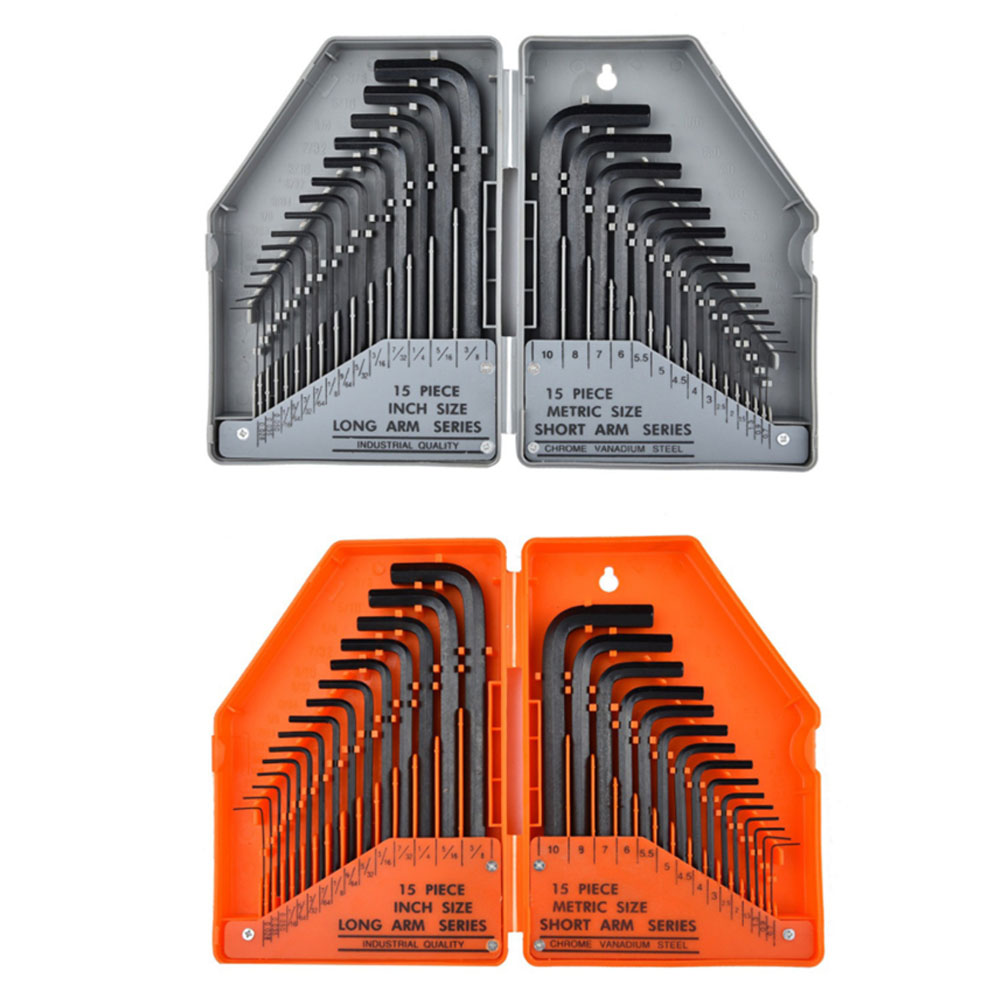 Wrench 30-piece Allen Wrench Hex Key Industrial Grade Metric Inch Flat Head Hex Wrench Set L-type Wrench Hand Tool Kit