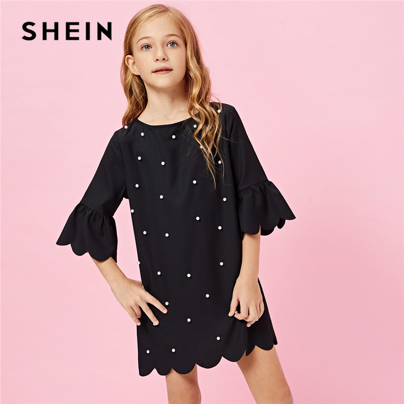 цена SHEIN Kiddie Black Pearl Beaded Embellished Scallop Trim Tunic Dress 2019 Summer Flounce Sleeve Elegant Mother Daughter Dresses