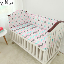 Promotion! 5PCS Cartoon Bedding Sets For The Cribs With Sheet And Bumpers 100% Cotton Bedclothes(4bumper+sheet )