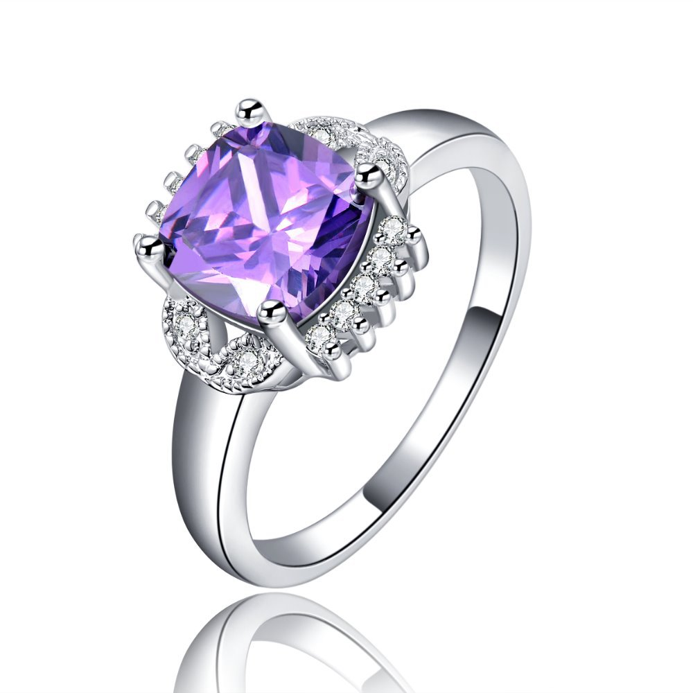 wholesale silver plated purple stone rings for women jewelry engagement wedding ring bague bijoux accessories msr117 - Purple Wedding Ring