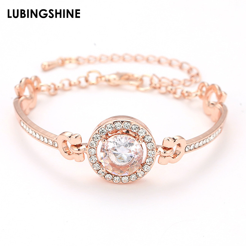 Exquisite Shiny AAA Zircon Charms Bracelet Silver Gold Color Chains Bracelets Party Jewelry Pulsreas