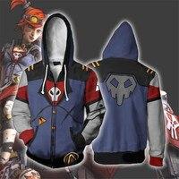 Carnival Game Anime Borderlands 2 assassin Zer0 Cosplay Costume Zer0 3D Print Sweatshirt Hooded Zipper Cartoon Sweatshirt coat