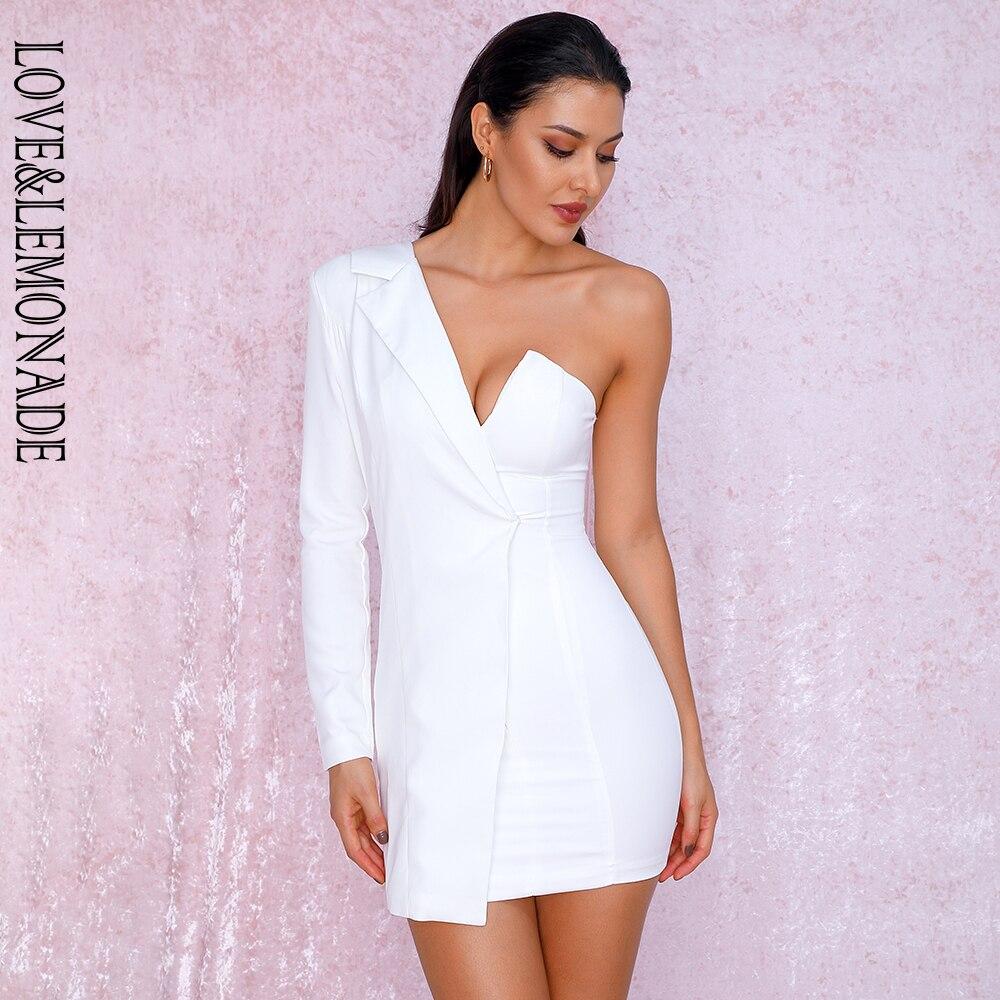 AMORE & LEMONADE Sexy Bianco Del Collare Irregolare In Tessuto Micro Elastico a Maniche Lunghe Vestito Da Partito LM81787 Autunno/Inverno-in Abiti da Abbigliamento da donna su  Gruppo 1
