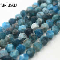 """Free Shipping 8mm Faceted Round Polygonal Apatite Blue Stone Gems Natural Stone Wholesale Beads Strand 15"""""""