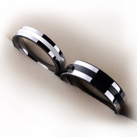 Couples Ring Tungsten Jewelry For Wedding Inlay Silicon Two Colors Black And White Size From 4