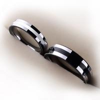 Hurtownie wysoki połysk pierścienie wolframu wkładka biały/czarny silicon comfort fit pasmo dla zakochanych obietnica rozmiar 4-12