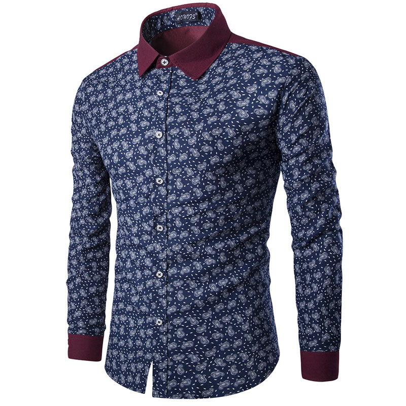 Mens paisley shirts vintage palace flowers printed shirts for Mens printed long sleeve shirts